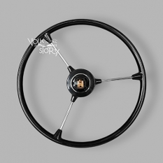 3 SPOKE STEERING WHEEL WITH HORN BUTTON CHROME / BLACK